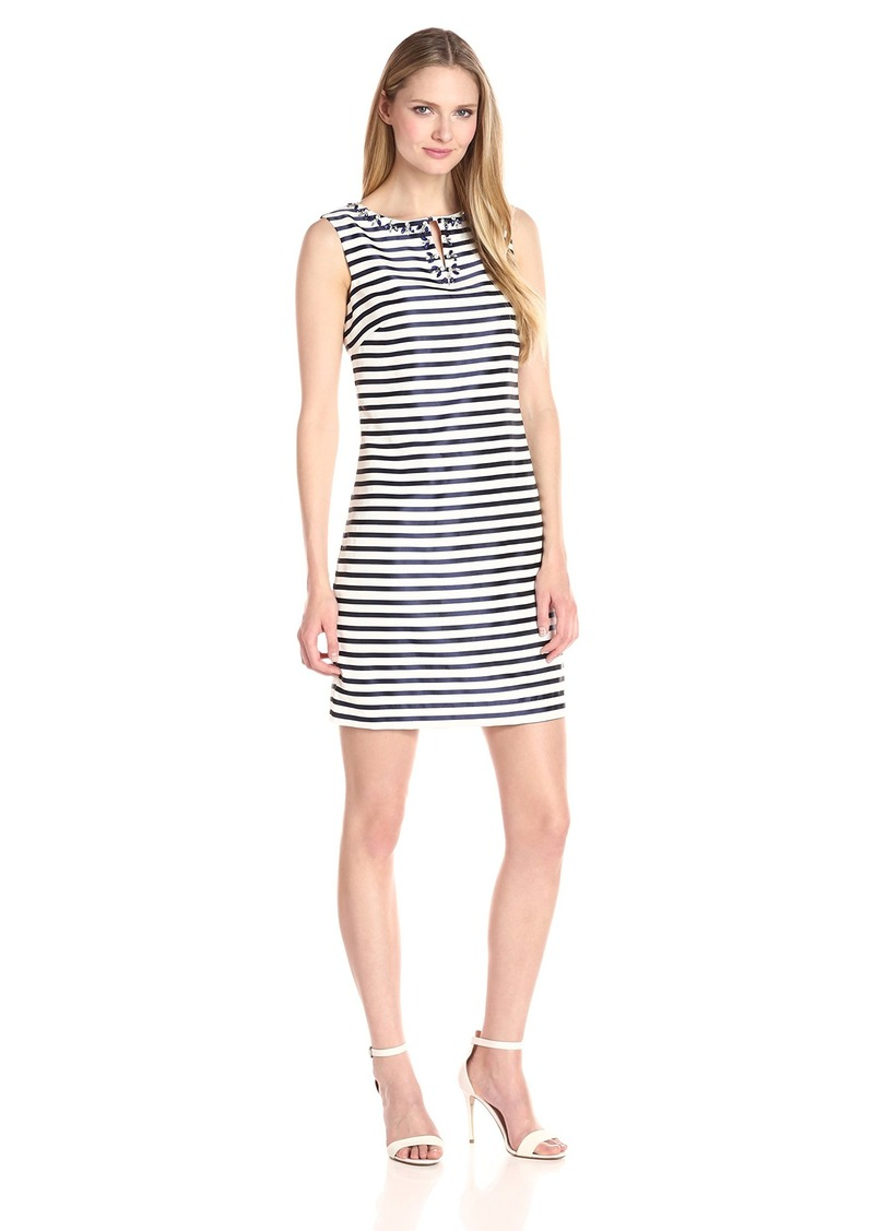 ELLEN TRACY Women's Striped Twill Dress with Embellished Neckline