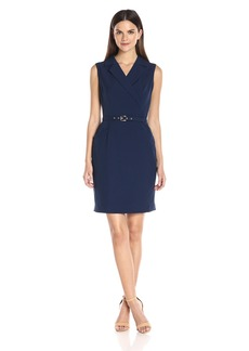 Ellen Tracy Women's Stuctured Bistretch Dress with Collar and Belt