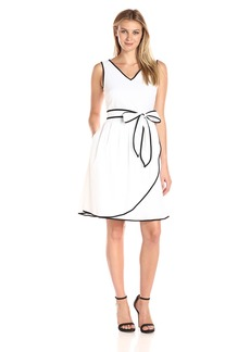 Ellen Tracy Women's Tetured Cotton Dress with Self Belt and Piping Detail Black/Ivory