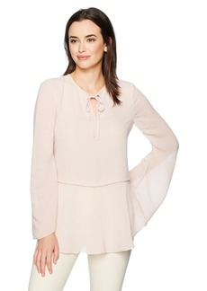 Ellen Tracy Women's Textured Mixed Media Full Sleeve Blouse  M