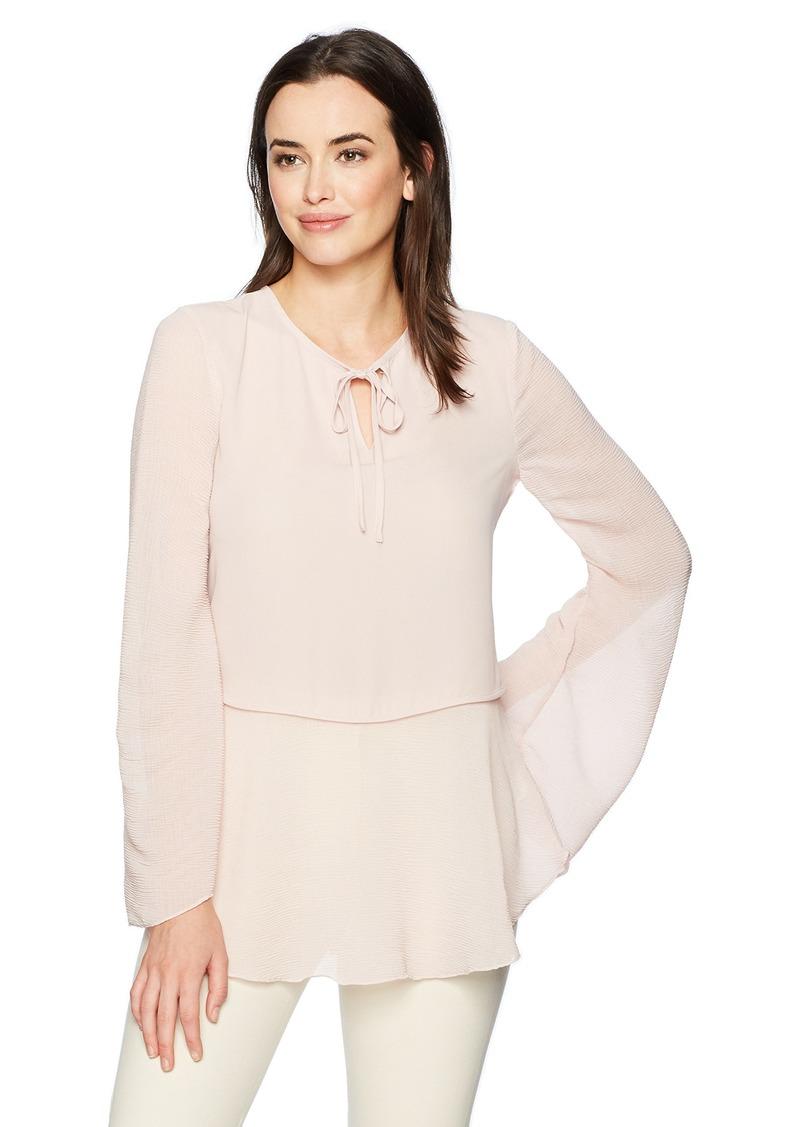 ELLEN TRACY Women's Textured Mixed Media Full Sleeve Blouse  S