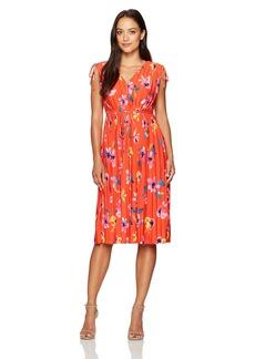 ELLEN TRACY Women's Tie Waist Pleat Dress  XL
