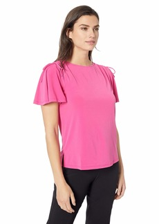 ELLEN TRACY Women's Top with Rouched Sleeve Detail  S