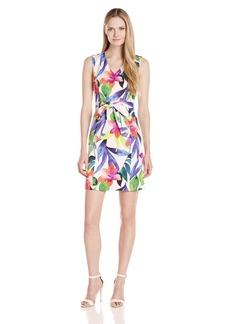 ELLEN TRACY Women's Tropical Floral Print Dress with Self Belt