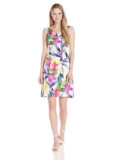 Ellen Tracy Women's Tropical Floral Print Off The Shoulder Dress