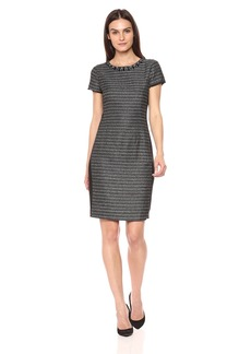 Ellen Tracy Women's Tweed Black and Ivory Dress
