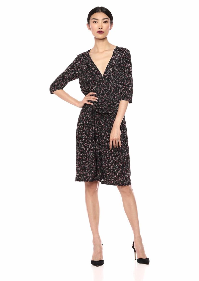ELLEN TRACY Women's Twisted Front Dress Fall FLWRS/nite Sky M