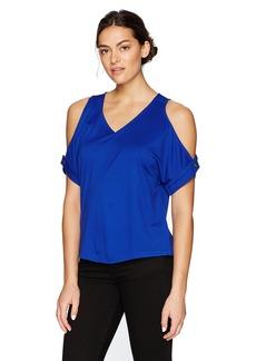 ELLEN TRACY Women's V Neck Cold Shoulder Top  XL