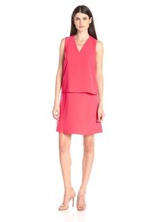 Ellen Tracy Women's V Neck Trompe L'Oeil Dress
