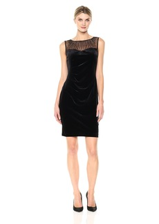 ELLEN TRACY Women's Velvet Dress with Neckline Embellishment