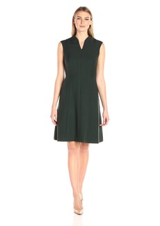 Ellen Tracy Women's Zip Front Fit and Flare Bistretch Dress
