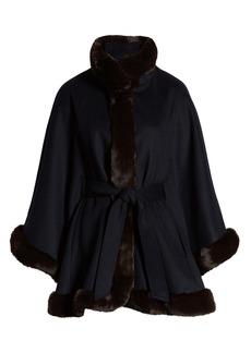 Ellen Tracy Wool Blend Cape Coat with Faux Fur Trim