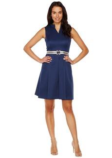 Ellen Tracy Fit & Flare Pique Dress with Striped Belt