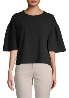 Ellen Tracy Flare-Sleeve Cropped Top