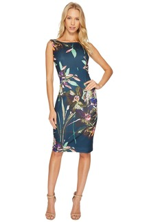 Ellen Tracy Floral Printed Scuba Dress