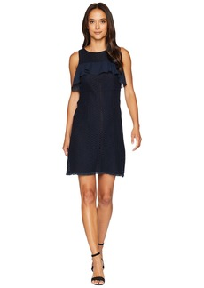 Ellen Tracy Flounce Yoke Fit and Flare Dress