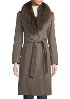 Ellen Tracy Fox-Fur Collar Slick Wool Wrap Coat