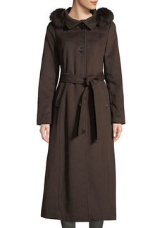 Ellen Tracy Fox Fur-Hooded Wool Maxi Coat