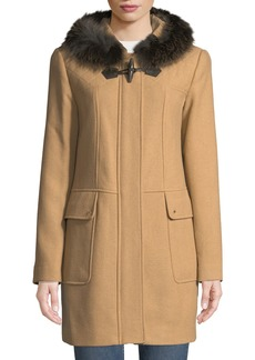 Ellen Tracy Fox-Fur Trimmed Hooded Toggle Coat