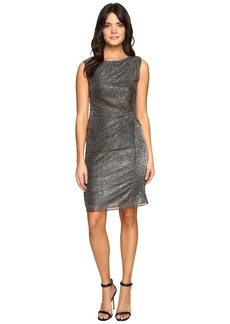 Ellen Tracy Galaxy Metallic Dress w/ Side Knot Detail