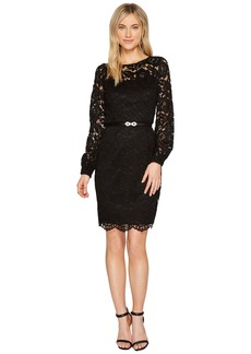 Ellen Tracy Lace Dress with Embellished Belt