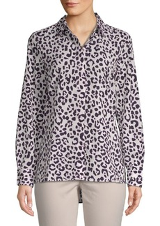 Ellen Tracy Leopard Print Button-Down Shirt