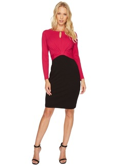 Ellen Tracy Long Sleeve Color Block Dress w/ Keyhole