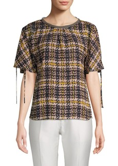 Ellen Tracy Plaid Tie-Sleeve Blouse