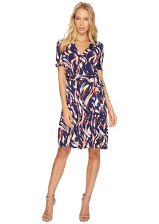 Ellen Tracy Printed Faux Wrap Dress with V-Neck and Tie at the Waist
