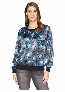 Ellen Tracy Satin Sweatshirt w/ Rib Trim