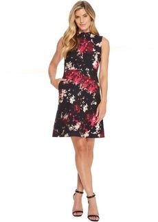 Ellen Tracy Seamed Mock Neck Dress