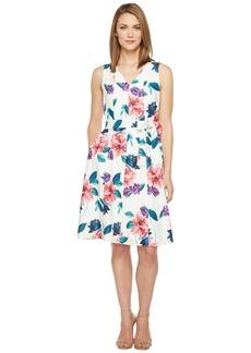 Ellen Tracy Seamed V-Neck Dress