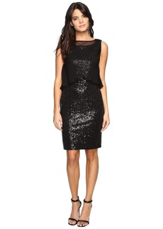 Ellen Tracy Sequin Dress w/ Removable Chiffon Layer