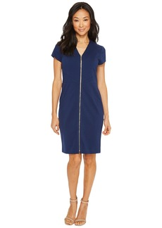Ellen Tracy Short Sleeved Ponte Dress with Front Zipper