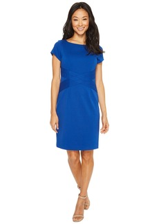 Ellen Tracy Short Sleeved Ponte Dress with Waist Detail