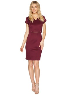 Ellen Tracy Short Sleeved Scuba Dress with Chain Detail
