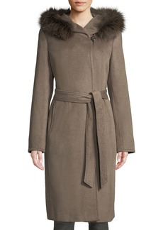 Ellen Tracy Slick Wool Wrap Pea Coat w/ Fox Fur Hood