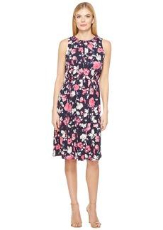 Ellen Tracy Smocked Self-Tie Dress