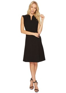 Ellen Tracy Solid Fit and Flare Dress with Front Zipper Detail