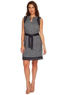Ellen Tracy Split-Neck Shift Dress
