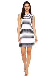 Ellen Tracy Striped Twill Dress with Neckline Embellishment