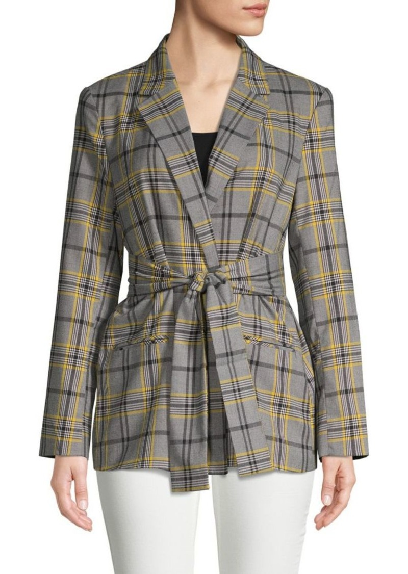 Ellen Tracy Tie-Front Plaid Blazer