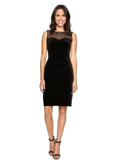 Ellen Tracy Velvet Dress w/ Neckline Embellishment