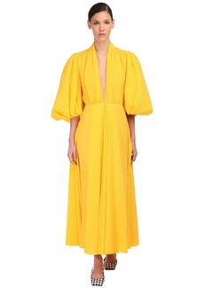 Emilia Wickstead Cotton Midi Dress W/ Puff Sleeves