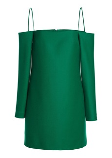 Emilia Wickstead - Women's Maida Off-The-Shoulder Wool Mini Dress - Green - Moda Operandi