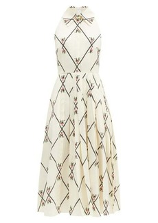 Emilia Wickstead Alvia diamond-print pleated crepe dress