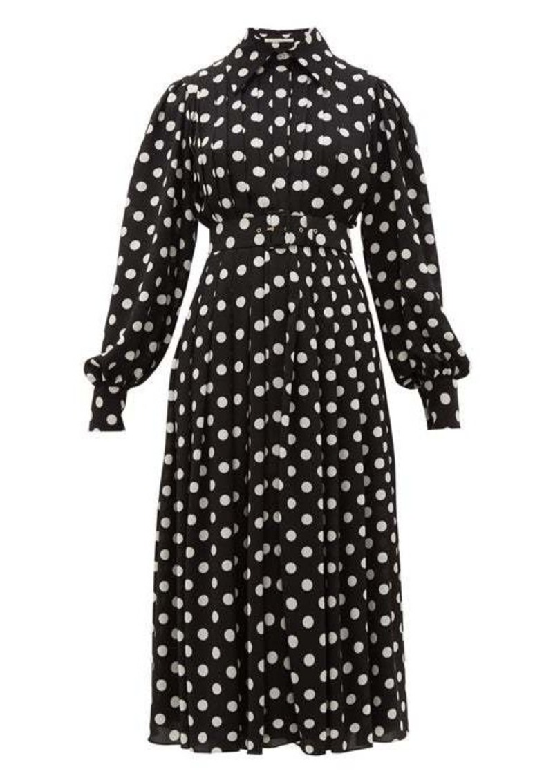 Emilia Wickstead Anatola pleated polka-dot crepe shirtdress