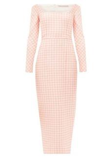 Emilia Wickstead Birch off-the-shoulder gingham cloqué midi dress