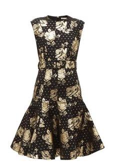 Emilia Wickstead Danni belted metallic floral-brocade dress