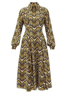 Emilia Wickstead Dannie zigzag-print crepe shirt dress